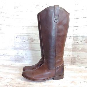 Frye Melissa Button tall brown riding boots